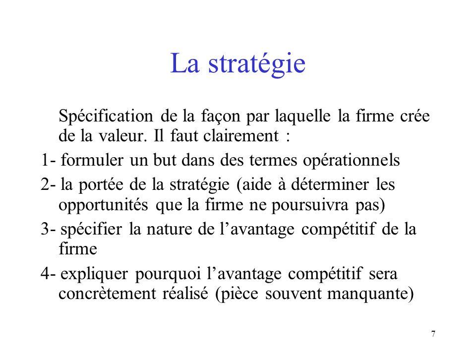 7 La stratégie Spécification de la façon par laquelle la firme crée de la valeur. Il faut clairement : 1- formuler un but dans des termes opérationnel