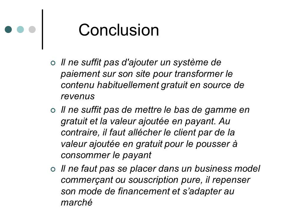 Conclusion Il ne suffit pas d ajouter un système de paiement sur son site pour transformer le contenu habituellement gratuit en source de revenus Il ne suffit pas de mettre le bas de gamme en gratuit et la valeur ajoutée en payant.