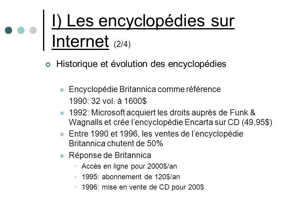 I) Les encyclopédies sur Internet (2/4) Historique et évolution des encyclopédies Encyclopédie Britannica comme référence 1990: 32 vol.