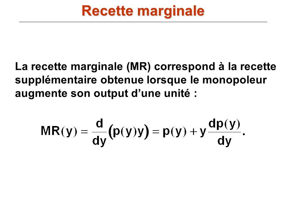 La recette marginale (MR) correspond à la recette supplémentaire obtenue lorsque le monopoleur augmente son output dune unité : Recette marginale