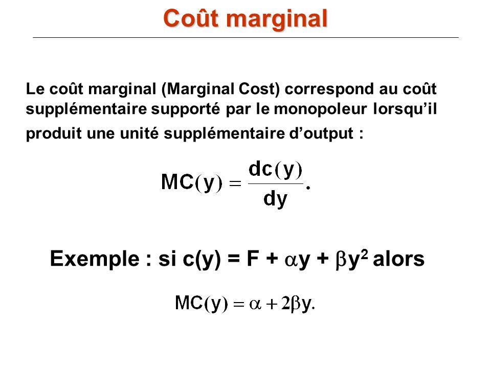 Le coût marginal (Marginal Cost) correspond au coût supplémentaire supporté par le monopoleur lorsquil produit une unité supplémentaire doutput : Exem