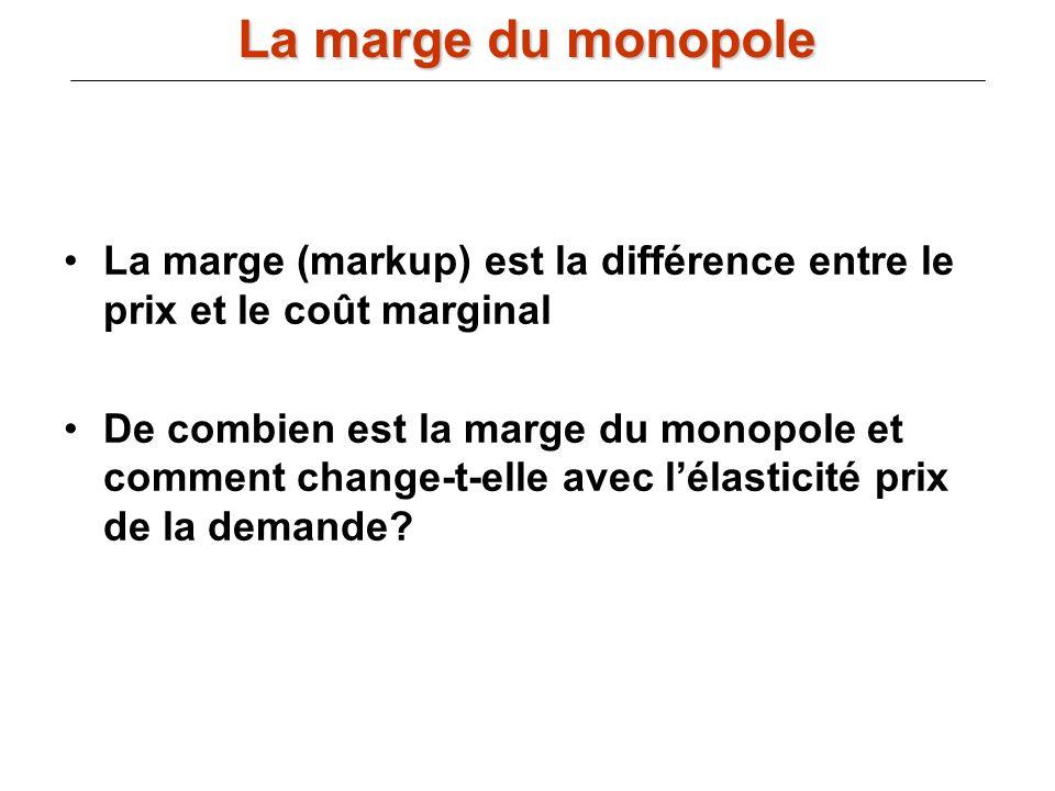 La marge (markup) est la différence entre le prix et le coût marginal De combien est la marge du monopole et comment change-t-elle avec lélasticité pr