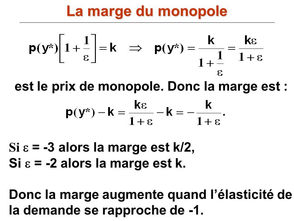 est le prix de monopole. Donc la marge est : Si = -3 alors la marge est k/2, Si = -2 alors la marge est k. Donc la marge augmente quand lélasticité de