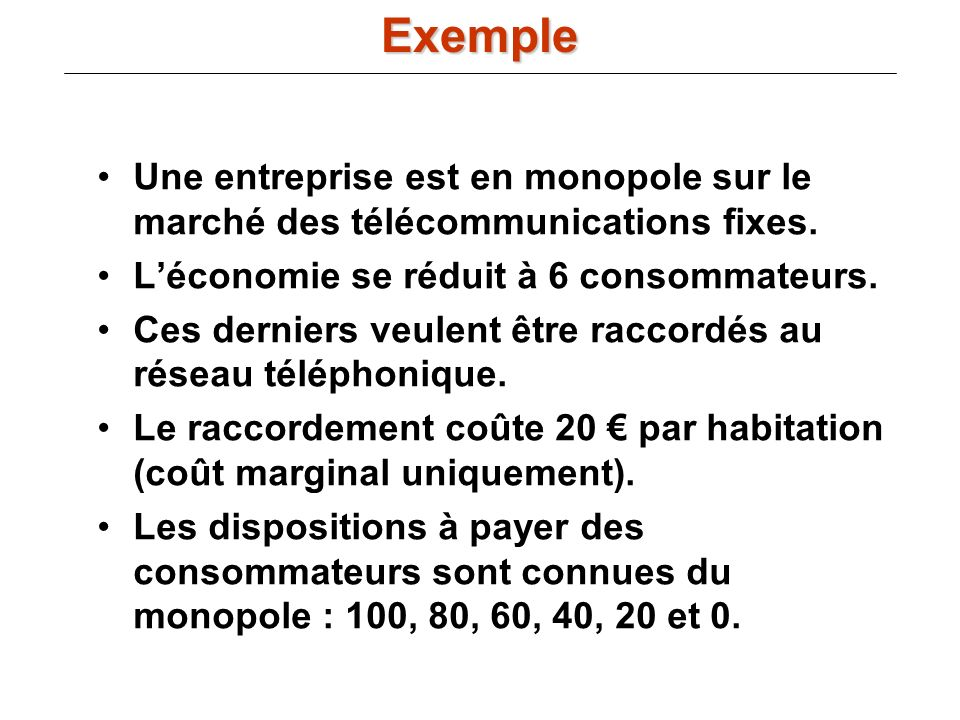 Une entreprise est en monopole sur le marché des télécommunications fixes. Léconomie se réduit à 6 consommateurs. Ces derniers veulent être raccordés