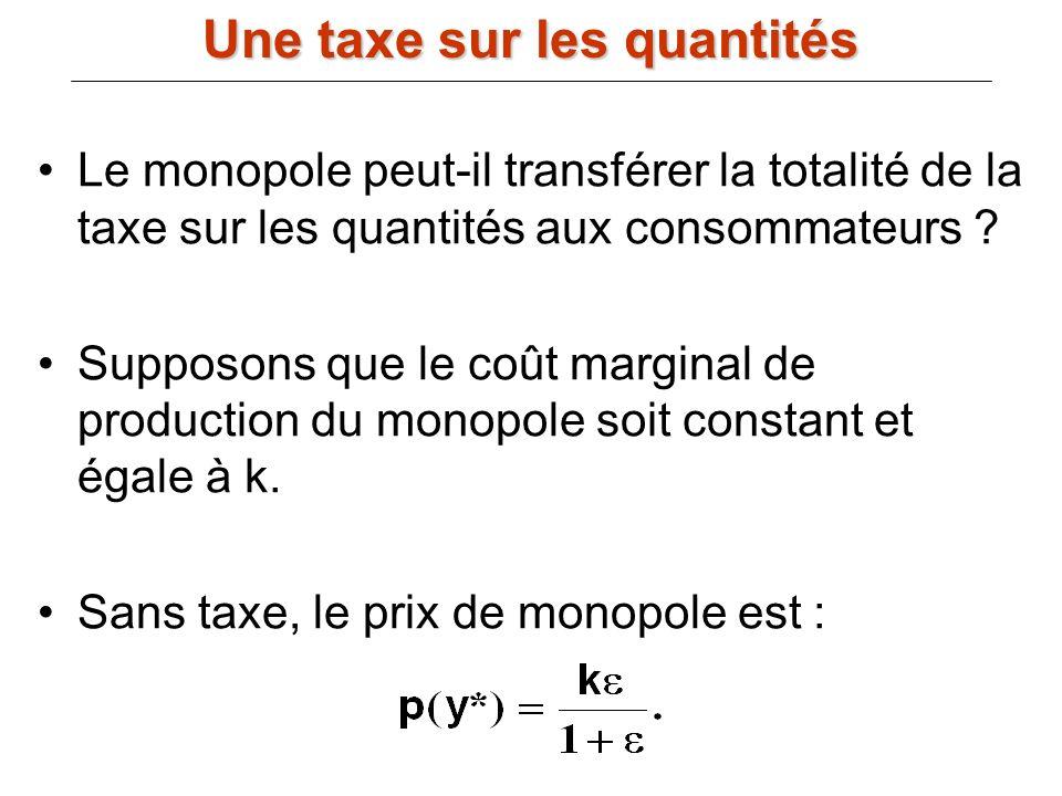 Le monopole peut-il transférer la totalité de la taxe sur les quantités aux consommateurs ? Supposons que le coût marginal de production du monopole s