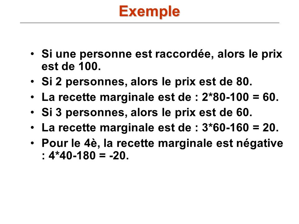 Si une personne est raccordée, alors le prix est de 100. Si 2 personnes, alors le prix est de 80. La recette marginale est de : 2*80-100 = 60. Si 3 pe