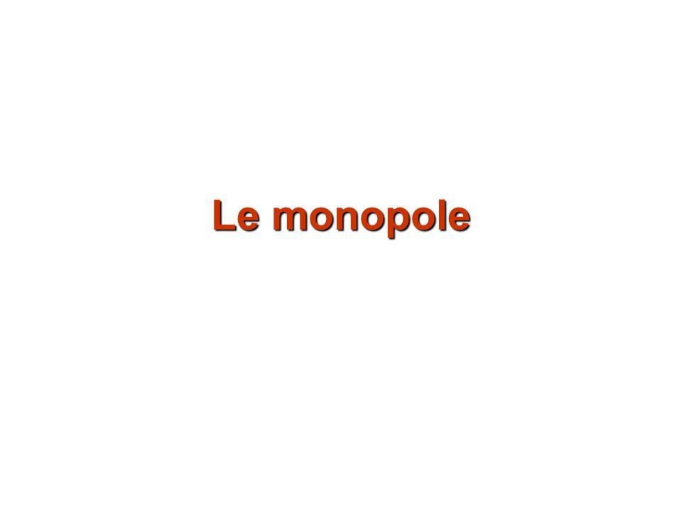 Un marché en monopole est un marché où il nexiste quun seul vendeur.