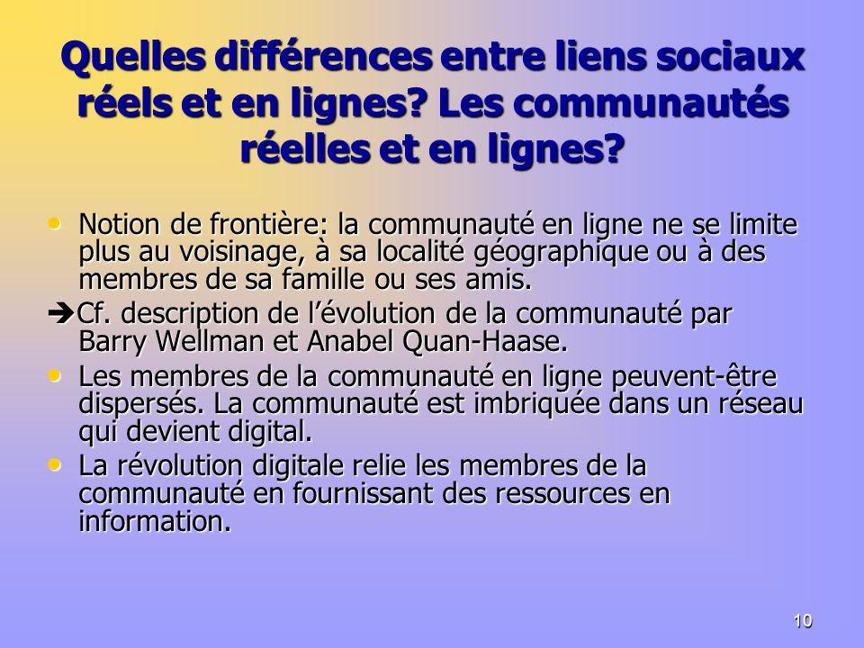 10 Quelles différences entre liens sociaux réels et en lignes.