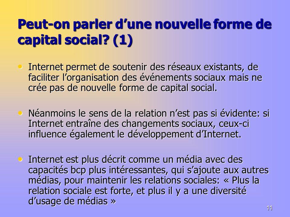 11 Peut-on parler dune nouvelle forme de capital social.