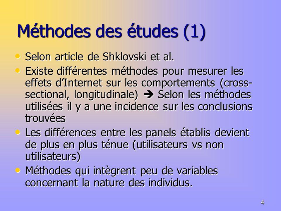 4 Méthodes des études (1) Selon article de Shklovski et al.