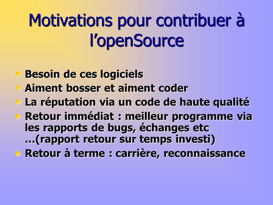 Motivations pour contribuer à lopenSource Besoin de ces logiciels Besoin de ces logiciels Aiment bosser et aiment coder Aiment bosser et aiment coder