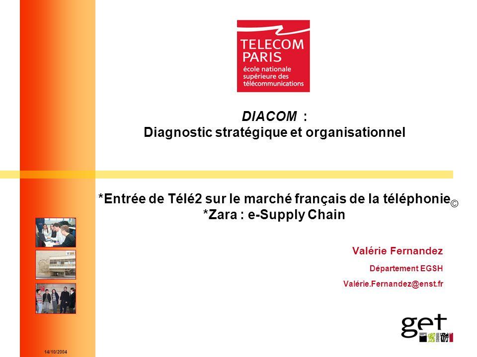 14/10/2004 DIACOM : Diagnostic stratégique et organisationnel *Entrée de Télé2 sur le marché français de la téléphonie *Zara : e-Supply Chain Valérie