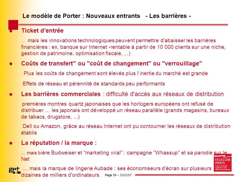 Page 10 – 20/03/07 Le modèle de Porter : Nouveaux entrants - Les barrières - Ticket d'entrée … mais les innovations technologiques peuvent permettre d