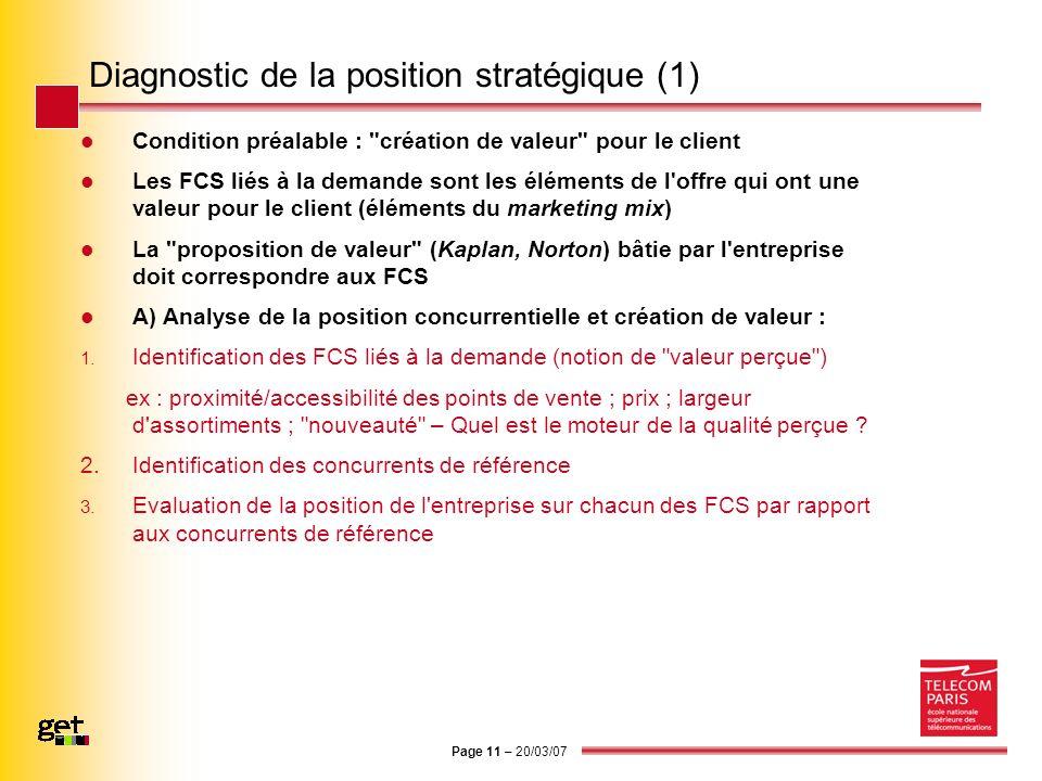 Page 11 – 20/03/07 Diagnostic de la position stratégique (1) Condition préalable :