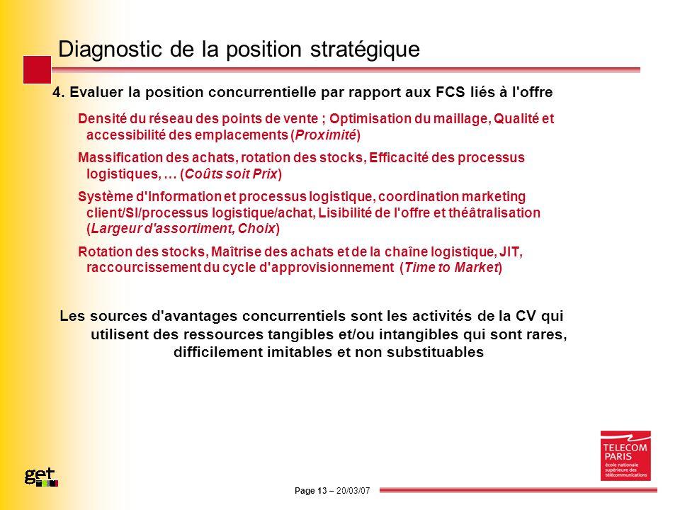 Page 13 – 20/03/07 Diagnostic de la position stratégique 4. Evaluer la position concurrentielle par rapport aux FCS liés à l'offre Densité du réseau d