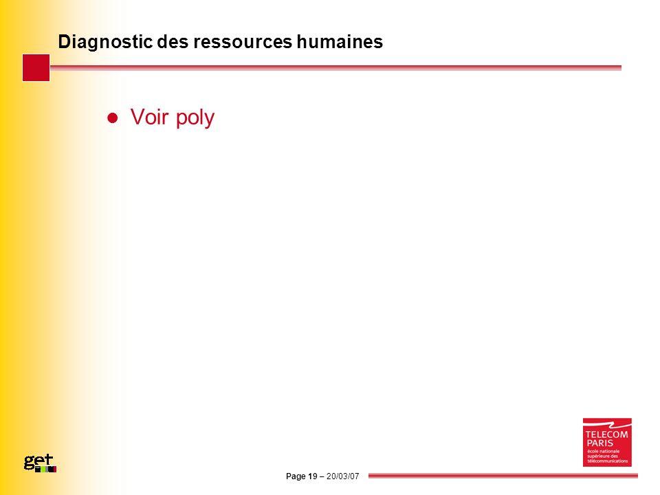 Page 19 – 20/03/07 Diagnostic des ressources humaines Voir poly