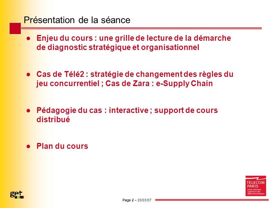 Page 2 – 20/03/07 Présentation de la séance Enjeu du cours : une grille de lecture de la démarche de diagnostic stratégique et organisationnel Cas de