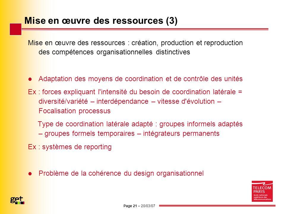 Page 21 – 20/03/07 Mise en œuvre des ressources (3) Mise en œuvre des ressources : création, production et reproduction des compétences organisationne