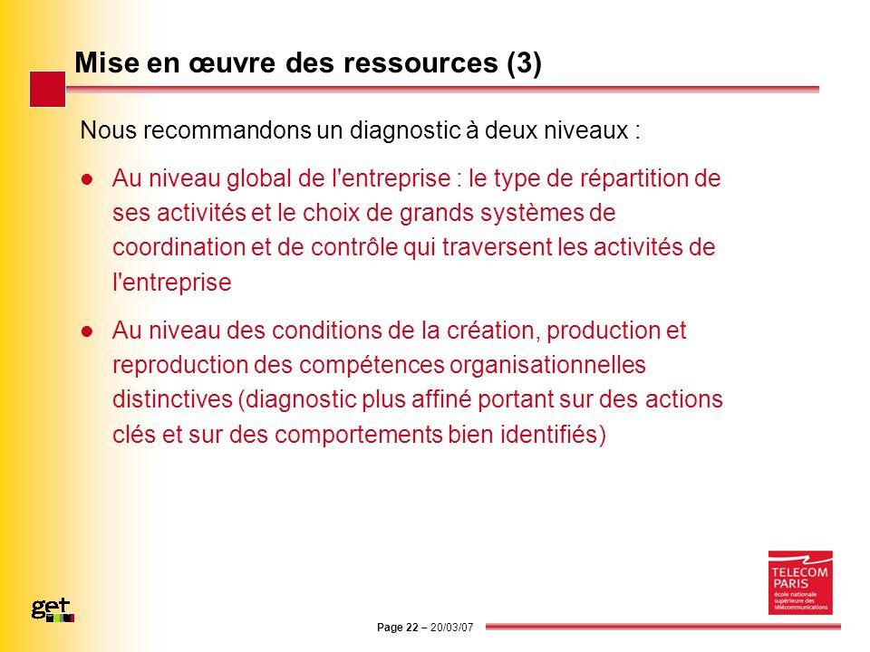 Page 22 – 20/03/07 Mise en œuvre des ressources (3) Nous recommandons un diagnostic à deux niveaux : Au niveau global de l'entreprise : le type de rép