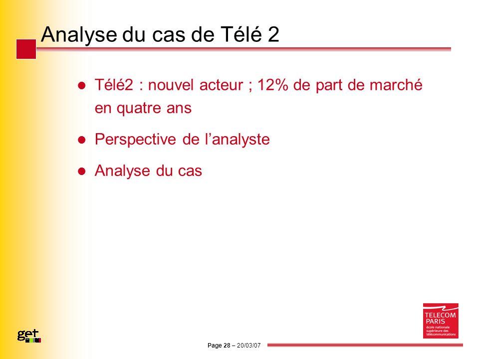 Page 28 – 20/03/07 Analyse du cas de Télé 2 Télé2 : nouvel acteur ; 12% de part de marché en quatre ans Perspective de lanalyste Analyse du cas