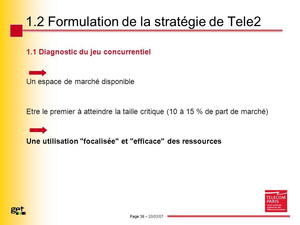 Page 36 – 20/03/07 1.2 Formulation de la stratégie de Tele2 1.1 Diagnostic du jeu concurrentiel Un espace de marché disponible Etre le premier à attei
