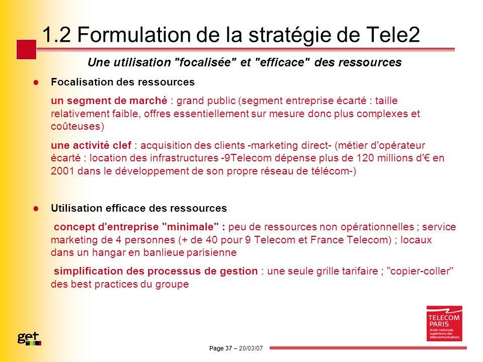 Page 37 – 20/03/07 1.2 Formulation de la stratégie de Tele2 Une utilisation