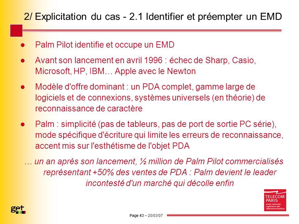 Page 43 – 20/03/07 2/ Explicitation du cas - 2.1 Identifier et préempter un EMD Palm Pilot identifie et occupe un EMD Avant son lancement en avril 199
