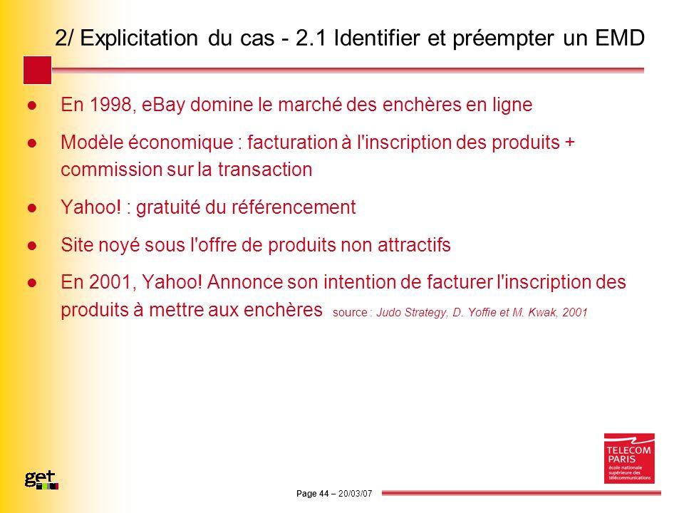Page 44 – 20/03/07 2/ Explicitation du cas - 2.1 Identifier et préempter un EMD En 1998, eBay domine le marché des enchères en ligne Modèle économique