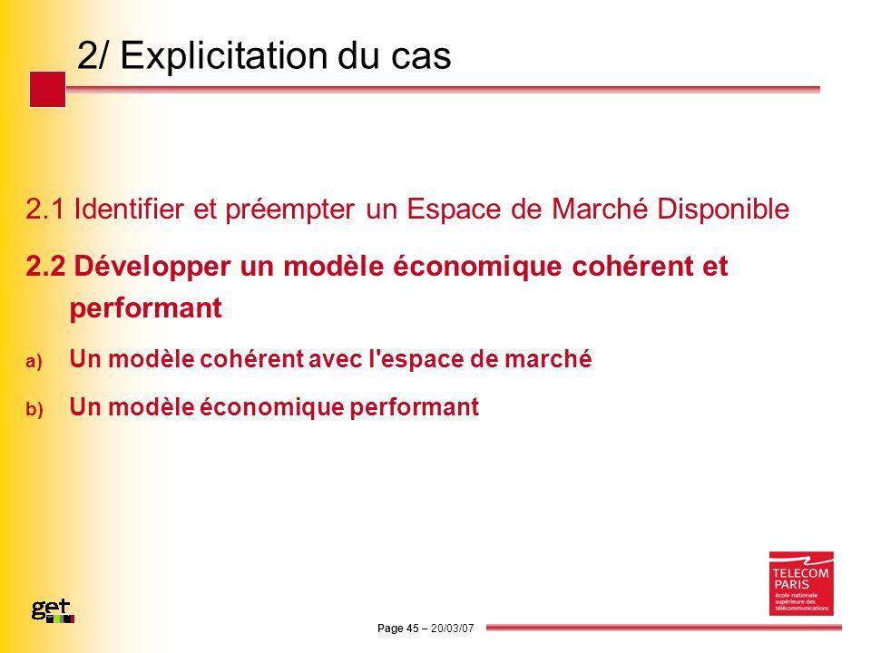 Page 45 – 20/03/07 2/ Explicitation du cas 2.1 Identifier et préempter un Espace de Marché Disponible 2.2 Développer un modèle économique cohérent et
