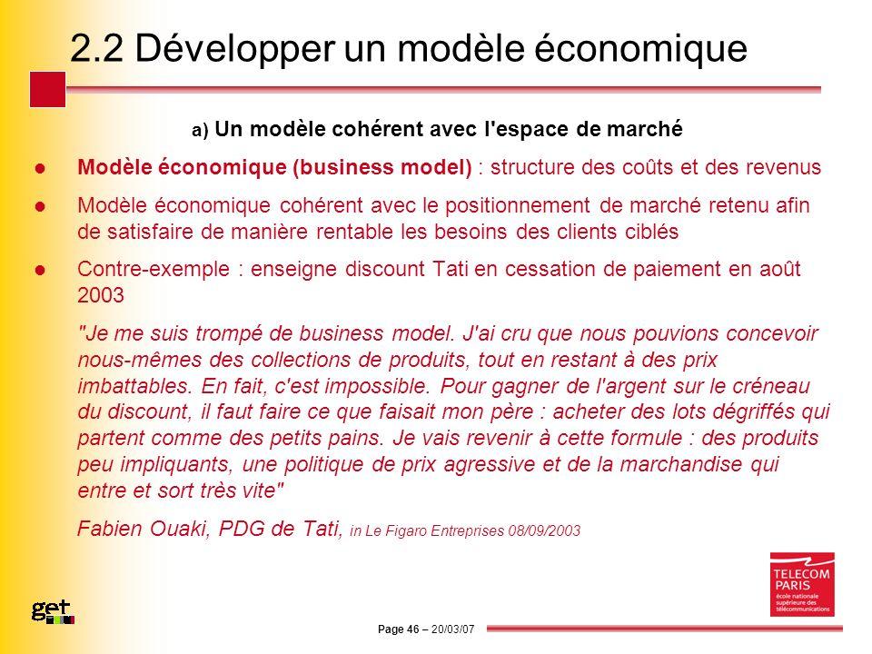 Page 46 – 20/03/07 2.2 Développer un modèle économique a) Un modèle cohérent avec l'espace de marché Modèle économique (business model) : structure de