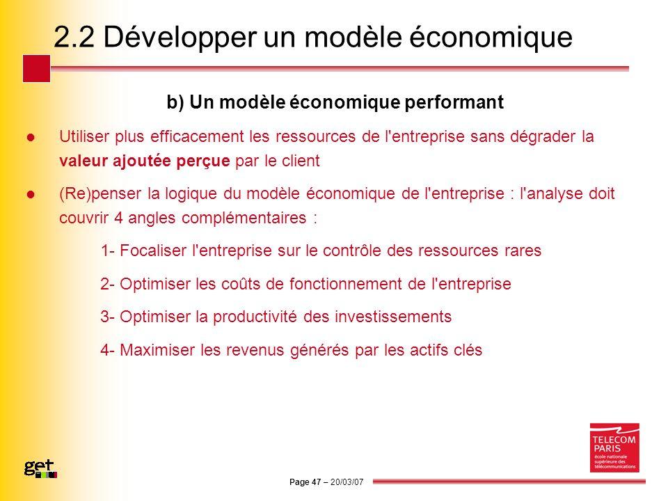 Page 47 – 20/03/07 2.2 Développer un modèle économique b) Un modèle économique performant Utiliser plus efficacement les ressources de l'entreprise sa