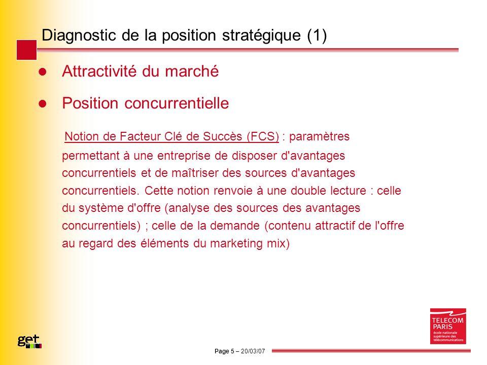 Page 5 – 20/03/07 Diagnostic de la position stratégique (1) Attractivité du marché Position concurrentielle Notion de Facteur Clé de Succès (FCS) : pa