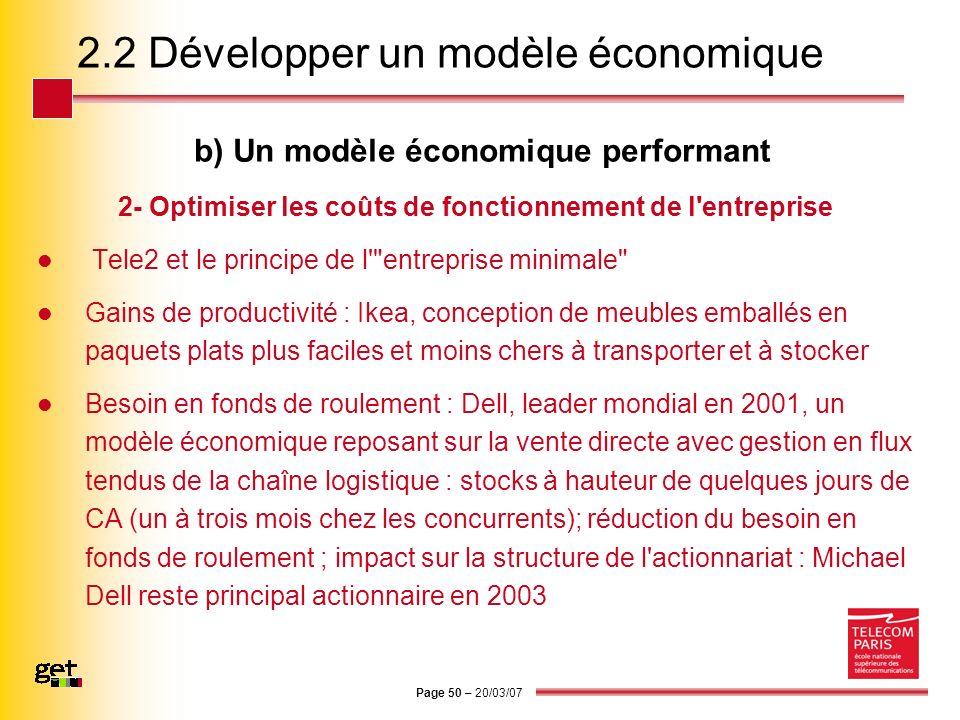 Page 50 – 20/03/07 2.2 Développer un modèle économique b) Un modèle économique performant 2- Optimiser les coûts de fonctionnement de l'entreprise Tel