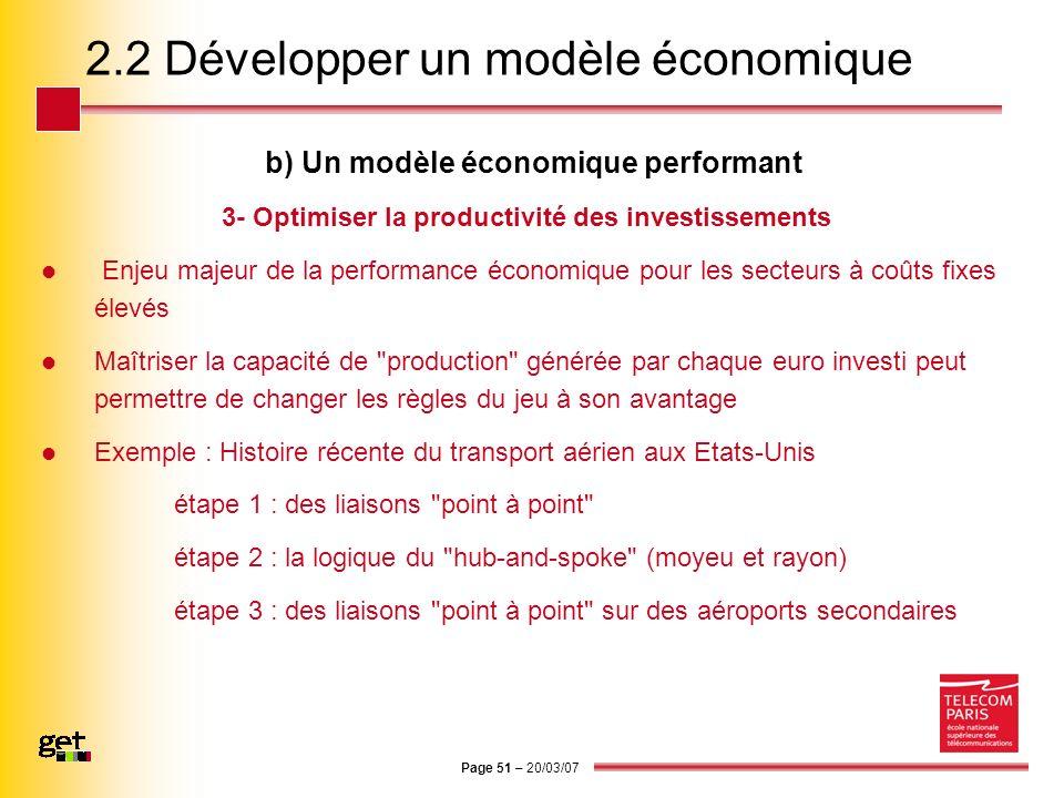 Page 51 – 20/03/07 2.2 Développer un modèle économique b) Un modèle économique performant 3- Optimiser la productivité des investissements Enjeu majeu