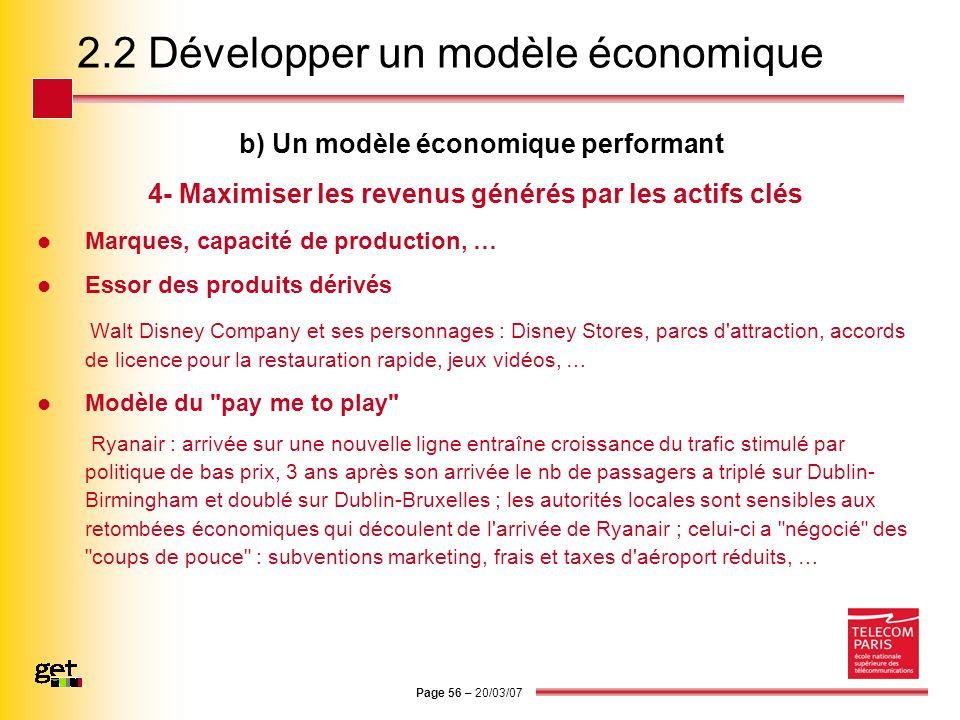 Page 56 – 20/03/07 2.2 Développer un modèle économique b) Un modèle économique performant 4- Maximiser les revenus générés par les actifs clés Marques