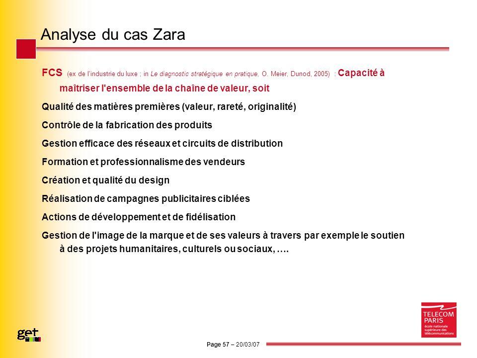 Page 57 – 20/03/07 Analyse du cas Zara FCS (ex de l'industrie du luxe ; in Le diagnostic stratégique en pratique, O. Meier, Dunod, 2005) : Capacité à
