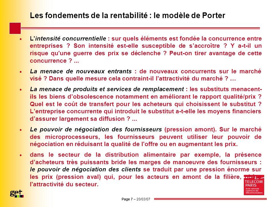 Page 7 – 20/03/07 Les fondements de la rentabilité : le modèle de Porter L'intensité concurrentielle : sur quels éléments est fondée la concurrence en