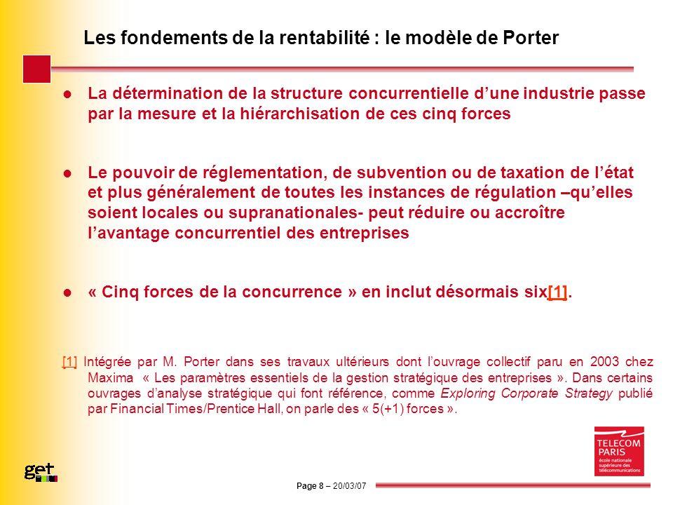 Page 8 – 20/03/07 Les fondements de la rentabilité : le modèle de Porter La détermination de la structure concurrentielle dune industrie passe par la