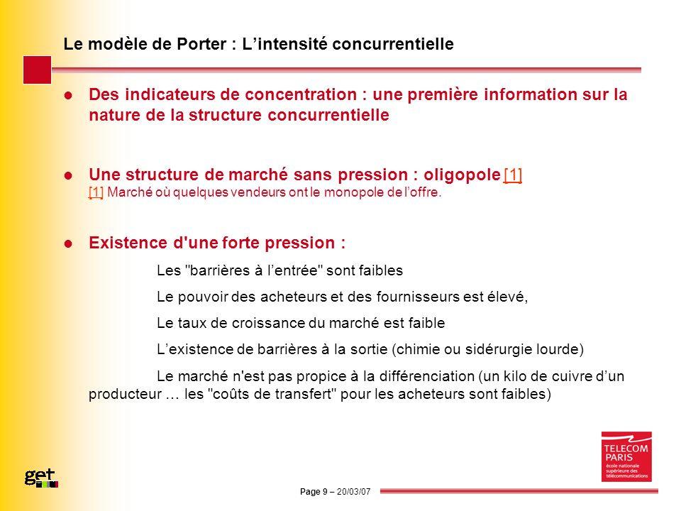 Page 9 – 20/03/07 Le modèle de Porter : Lintensité concurrentielle Des indicateurs de concentration : une première information sur la nature de la str