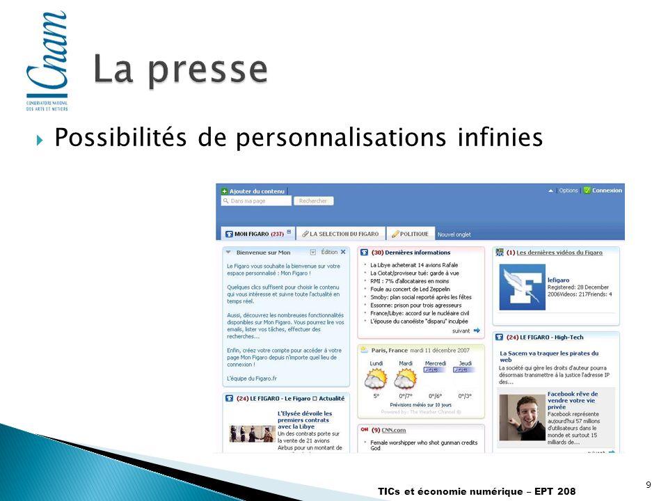 9 TICs et économie numérique – EPT 208 Possibilités de personnalisations infinies