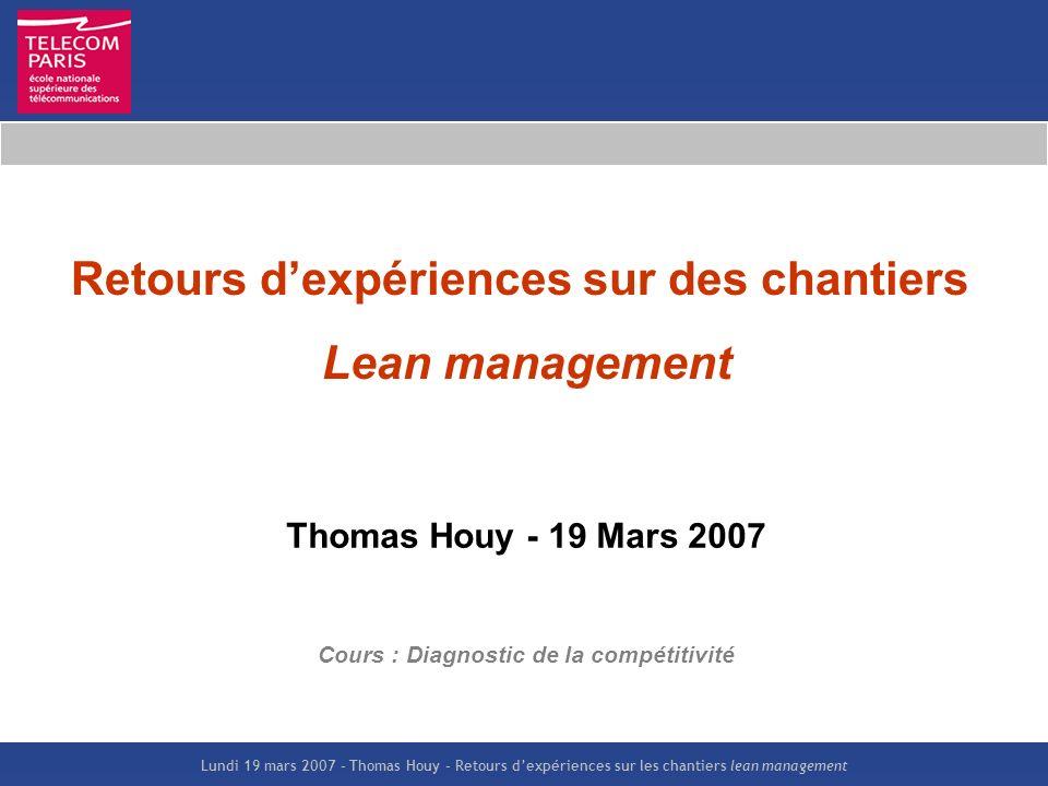 Lundi 19 mars 2007 – Thomas Houy – Retours dexpériences sur les chantiers lean management Retours dexpériences sur des chantiers Lean management Thoma
