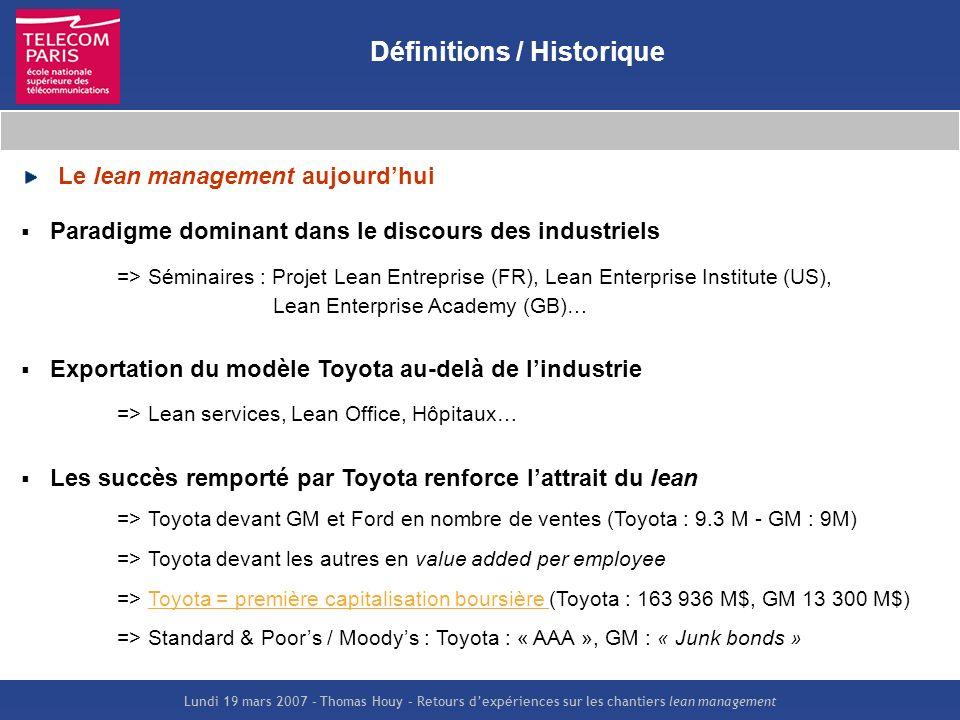 Lundi 19 mars 2007 – Thomas Houy – Retours dexpériences sur les chantiers lean management Définitions / Historique Le lean management aujourdhui Parad