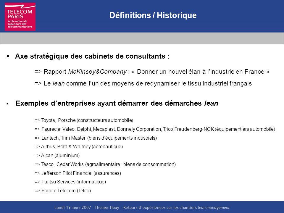Lundi 19 mars 2007 – Thomas Houy – Retours dexpériences sur les chantiers lean management Définitions / Historique Axe stratégique des cabinets de con