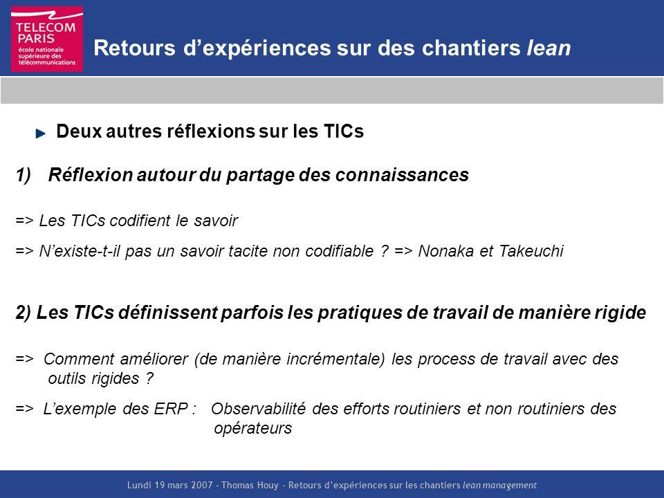 Lundi 19 mars 2007 – Thomas Houy – Retours dexpériences sur les chantiers lean management Retours dexpériences sur des chantiers lean Deux autres réfl