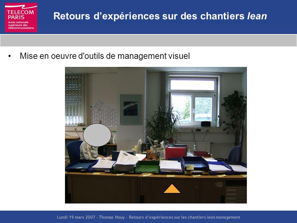 Lundi 19 mars 2007 – Thomas Houy – Retours dexpériences sur les chantiers lean management Retours dexpériences sur des chantiers lean Mise en oeuvre d