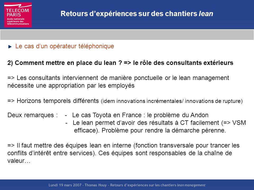 Lundi 19 mars 2007 – Thomas Houy – Retours dexpériences sur les chantiers lean management Retours dexpériences sur des chantiers lean Le cas dun opéra