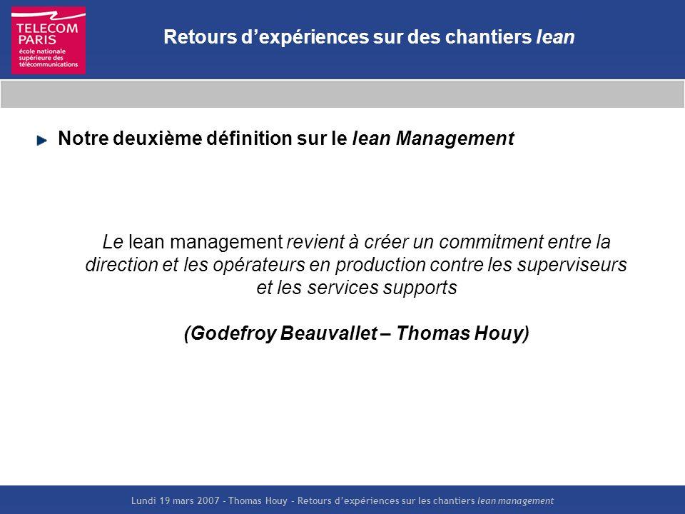 Lundi 19 mars 2007 – Thomas Houy – Retours dexpériences sur les chantiers lean management Retours dexpériences sur des chantiers lean Le lean manageme