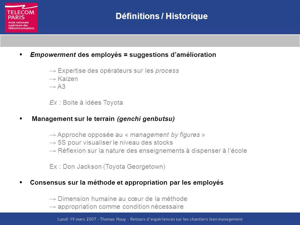 Lundi 19 mars 2007 – Thomas Houy – Retours dexpériences sur les chantiers lean management Définitions / Historique Empowerment des employés = suggesti