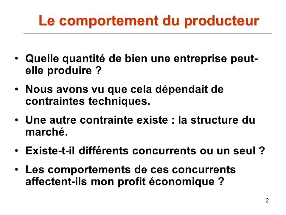 2 Le comportement du producteur Quelle quantité de bien une entreprise peut- elle produire ? Nous avons vu que cela dépendait de contraintes technique