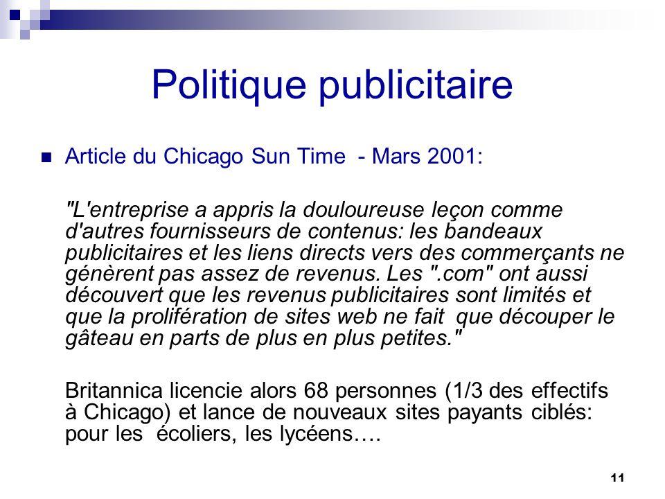 11 Politique publicitaire Article du Chicago Sun Time - Mars 2001: